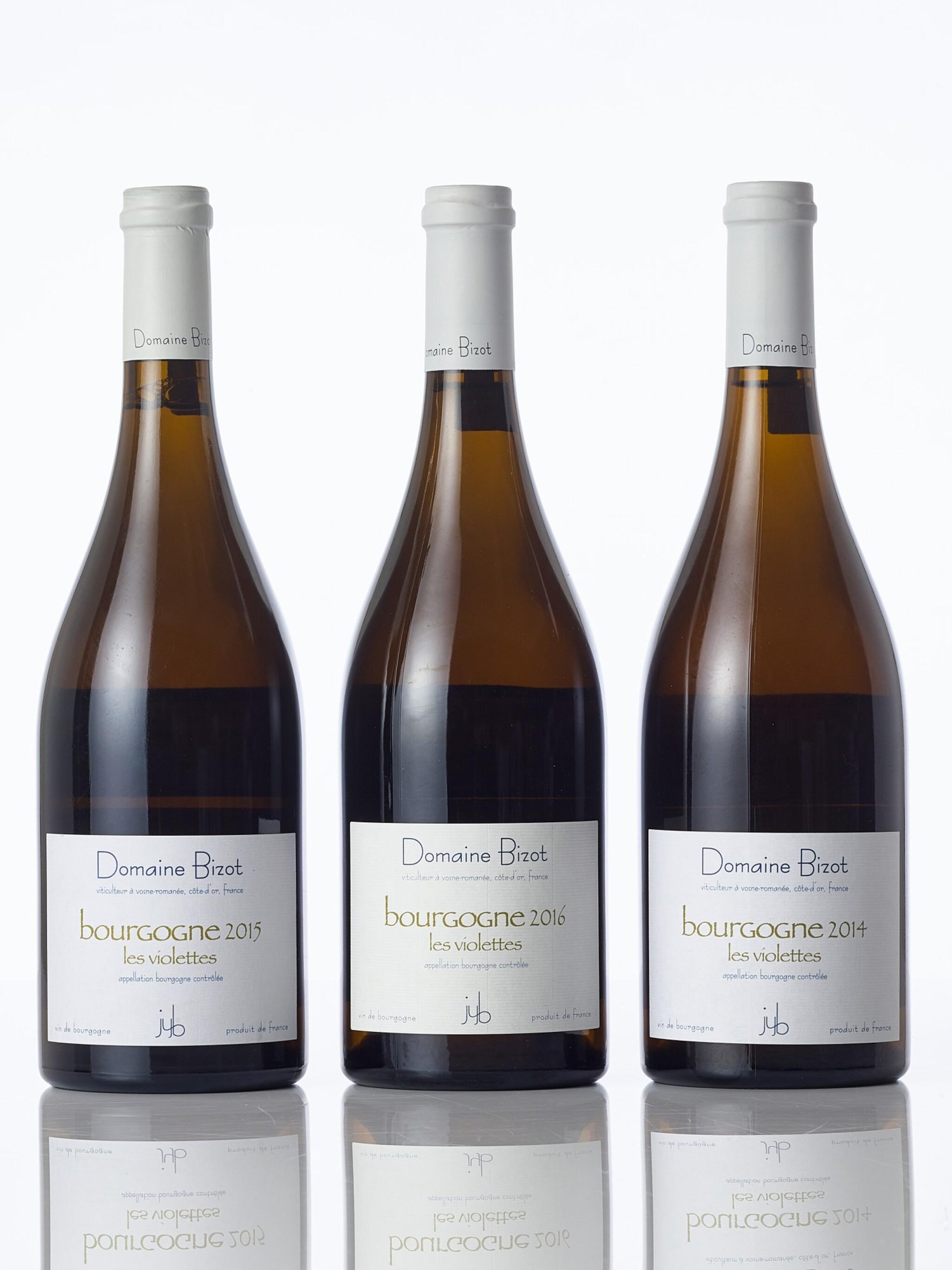 View full screen - View 1 of Lot 6208. Bourgogne Blanc, Les Violettes 2016 Domaine Bizot (12 BT).