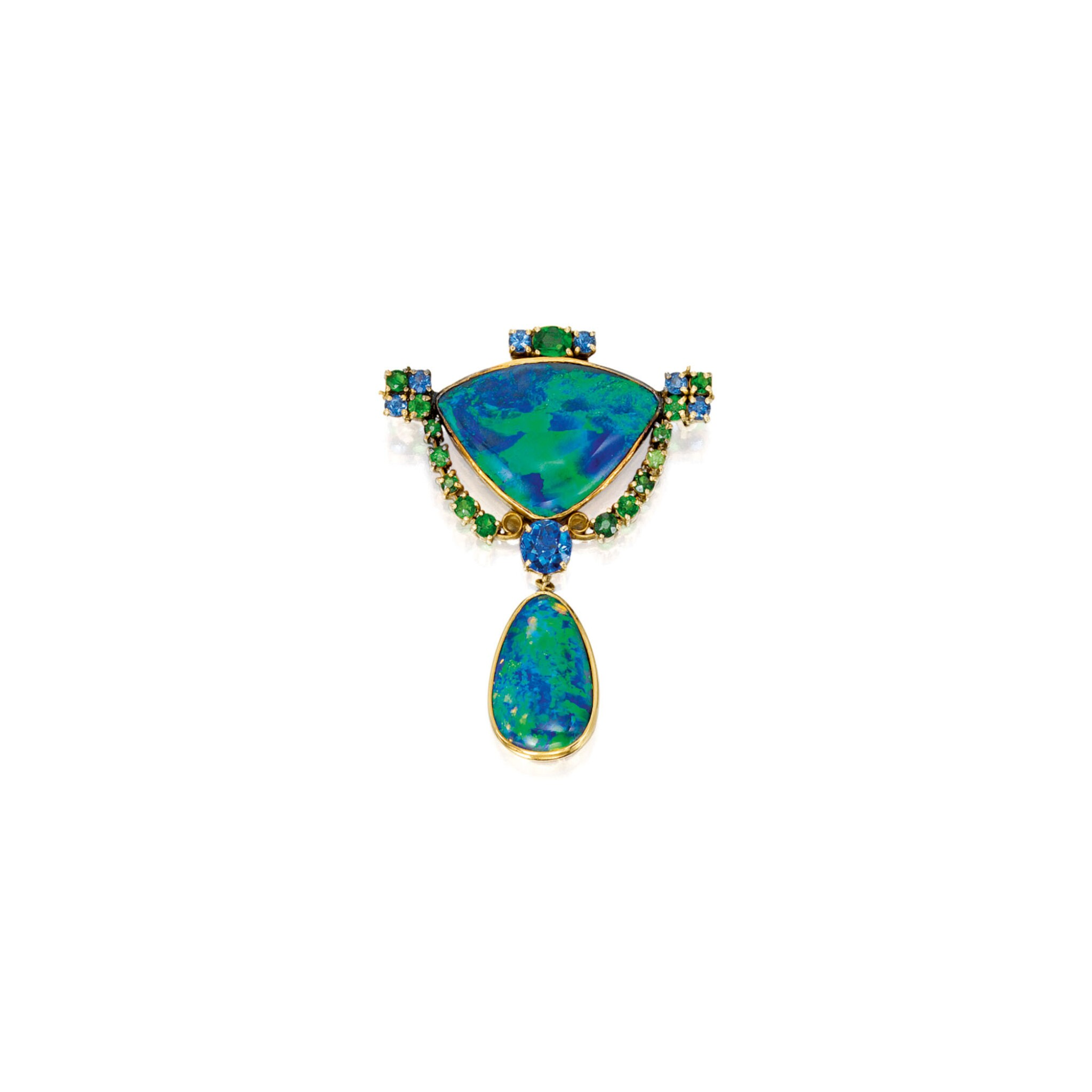 View full screen - View 1 of Lot 411. BLACK OPAL, SAPPHIRE AND DEMANTOID BROOCH, TIFFANY & CO., DESIGNED BY LOUIS COMFORT TIFFANY | 黑色蛋白石配藍寶石及翠榴石別針,蒂芙尼.