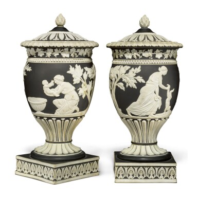 A PAIR OF WEDGWOOD BLACK JASPER-DIP VASES AND TWO COVERS CIRCA 1785