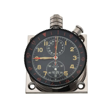 View 1. Thumbnail of Lot 4. SUPER AUTAVIA A STAINLESS STEEL DASH-MOUNTED TIMER, CIRCA 1970.