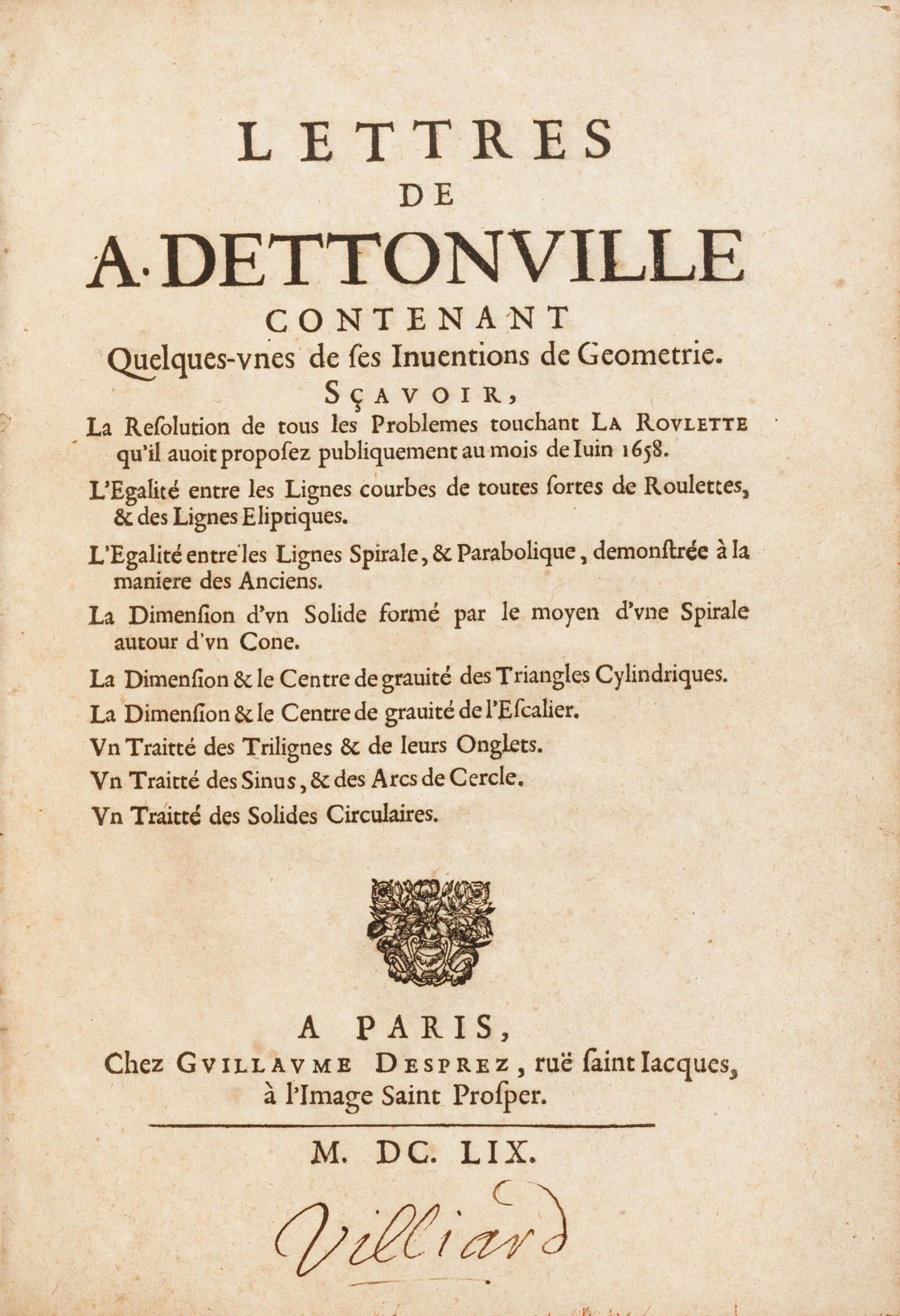 View full screen - View 1 of Lot 35. Lettres de A. Dettonville ... Paris, 1658-1659. Rarissime édition originale en reliure de l'époque..