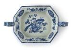 A DUTCH DELFT BLUE AND WHITE RECTANGULAR WINE COOLER OR BASIN, CIRCA 1700