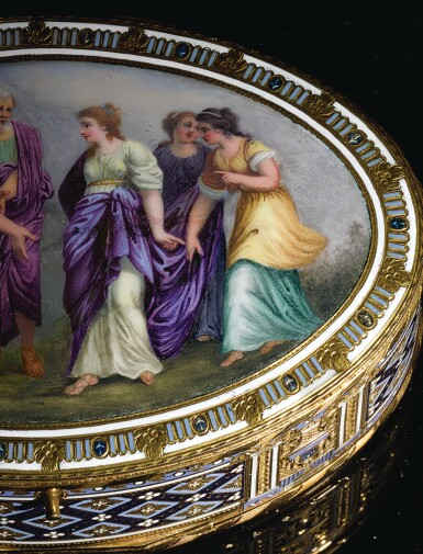 View 5. Thumbnail of Lot 15. A GOLD AND ENAMEL SNUFF BOX WITH MUSIC AND AUTOMATON, GUIDON, RÉMOND, GIDE, GENEVA, 1792-1801.