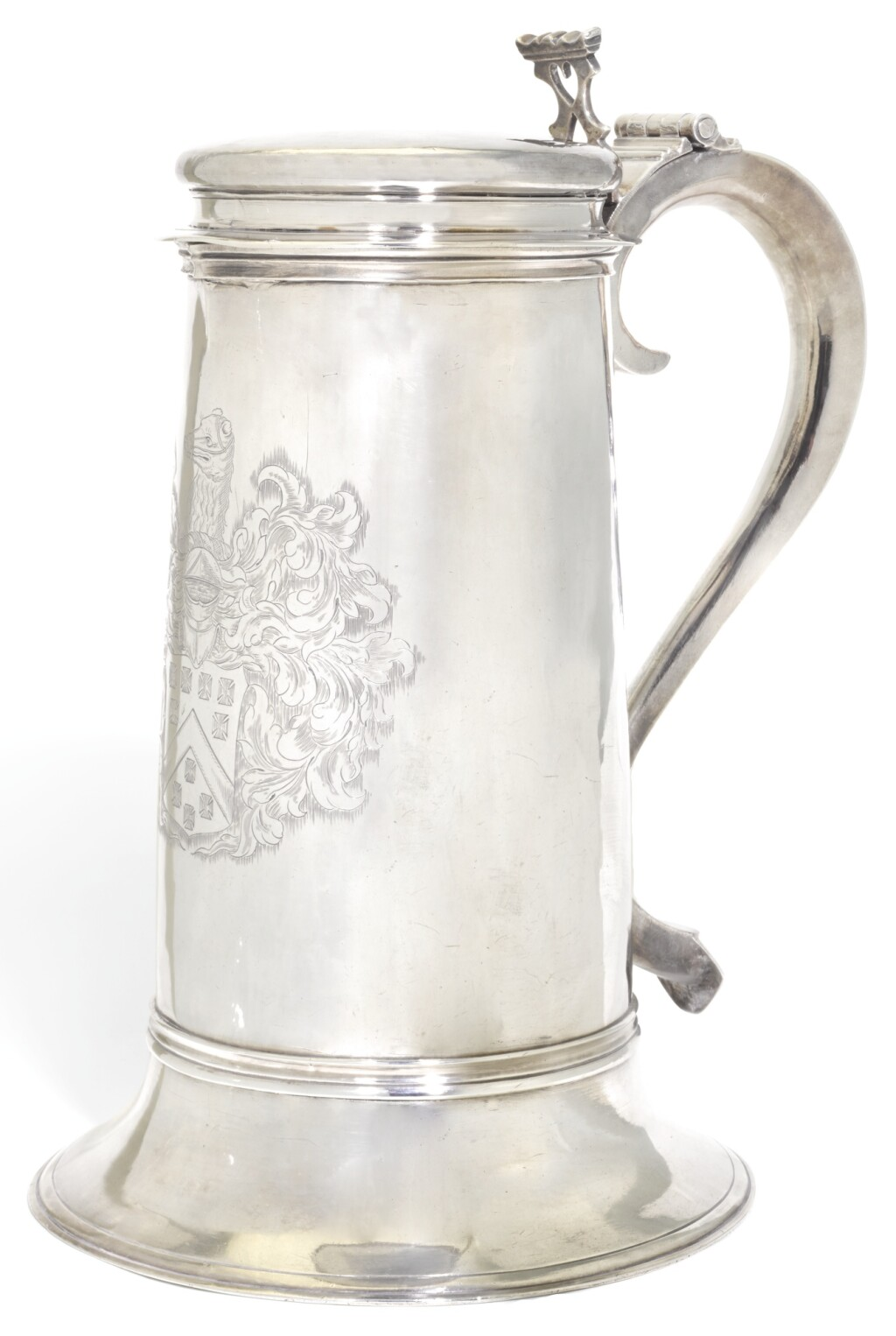 A LARGE CHARLES II SILVER FLAGON, MAKER'S MARK S BELOW A CROWN, ATTRIBUTED TO ROBERT SMYTHIER (OR SMITHYER), LONDON, CIRCA 1670