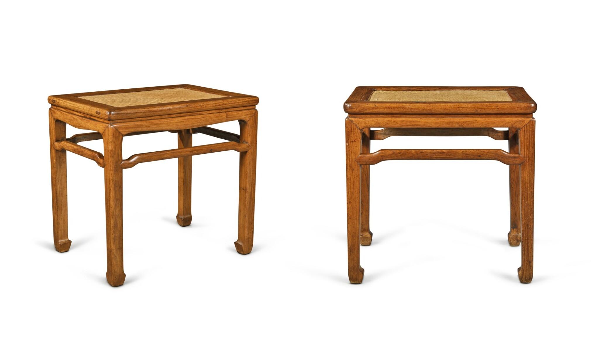 View full screen - View 1 of Lot 110. Two 'huanghuali' rectangular stools (Deng), Qing dynasty, 18th century | 清十八世紀 黃花梨有束腰羅鍋棖馬蹄足長方凳兩件.