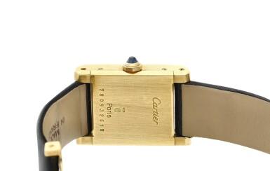 View 4. Thumbnail of Lot 305. A yellow gold, diamond and sapphire-set rectangular wristwatch, Circa 1985.