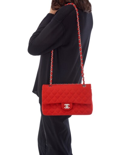 View 5. Thumbnail of Lot 150. RED JERSEY AND SILVER-TONE METAL CLASSIC SHOULDER BAG, CHANEL.