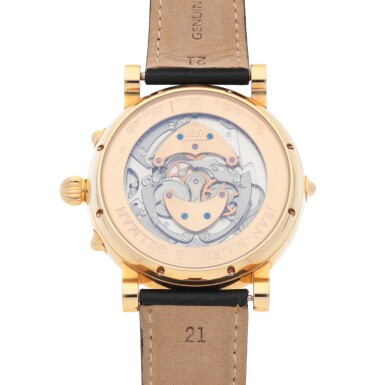 View 4. Thumbnail of Lot 414. CESAR AUGUSTE PINK GOLD TOURBILLON WRISTWATCH WITH DAY, DATE, DAY/NIGHT INDICATION,12 HOUR INDICIATION AND ENAMEL DIAL CIRCA 2005.