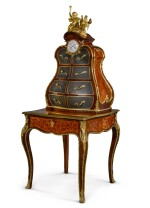 A FRENCH GILT-BRONZE MOUNTED ROSEWOOD, TULIPWOOD AND KINGWOOD FLORAL MARQUETRY WRITING DESK WITH CARTONNIER, LATE 19TH CENTURY, IN THE LOUIS XV MANNER