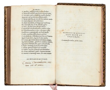 View 4. Thumbnail of Lot 240. Statius, [Opera], Venice, Aldus, 1502, navy morocco gilt, Renouard's copy.