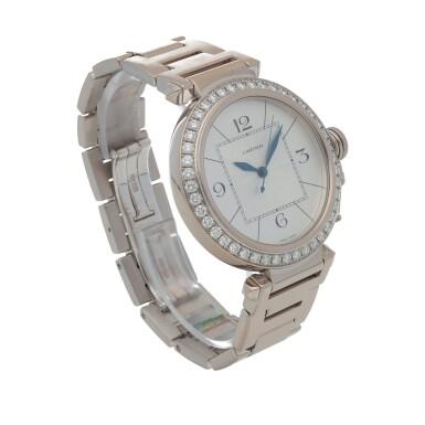 View 3. Thumbnail of Lot 470. Pasha, Ref. 2765 White gold and diamond-set wristwatch with bracelet Circa 2005   卡地亞 2765型號「Pasha」白金鑲鑽石鍊帶腕錶,年份約2005.
