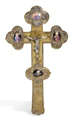 A SILVER-GILT AND PICTORIAL ENAMEL CRUCIFIX, MOSCOW, 1734