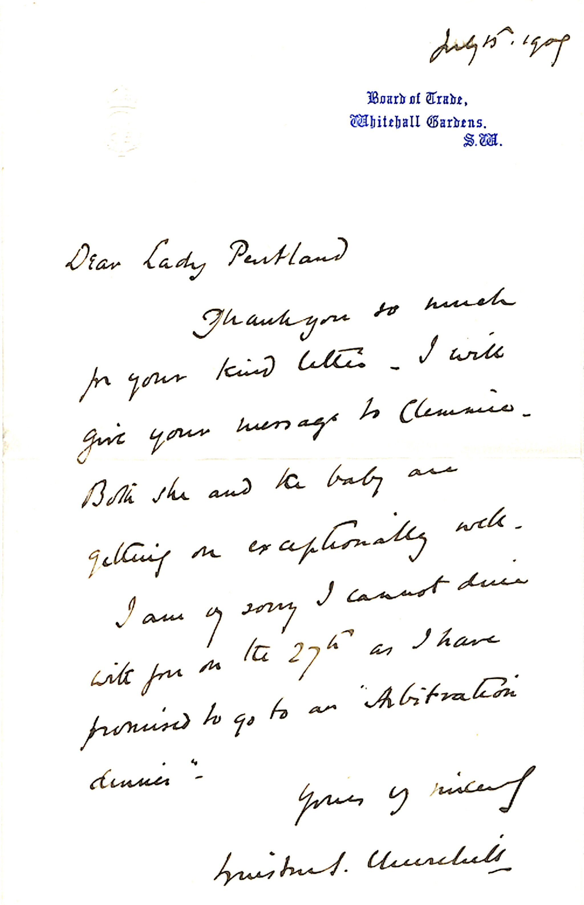 """View full screen - View 1 of Lot 22. Winston S. Churchill   Autograph letter signed (""""Winston Churchill"""") to Lady Pentland, 15 July 1909."""
