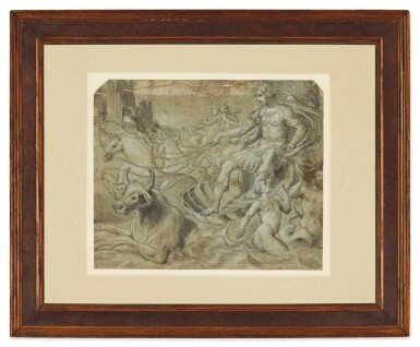 View 2. Thumbnail of Lot 593. FLORENTINE SCHOOL, CIRCA 1580 | A MYTHOLOGICAL FIGURE RIDING A SHELL-CHARIOT DRAWN BY BULLS AND A UNICORN, WITH TRITONS PLAYING IN THE WAVES.
