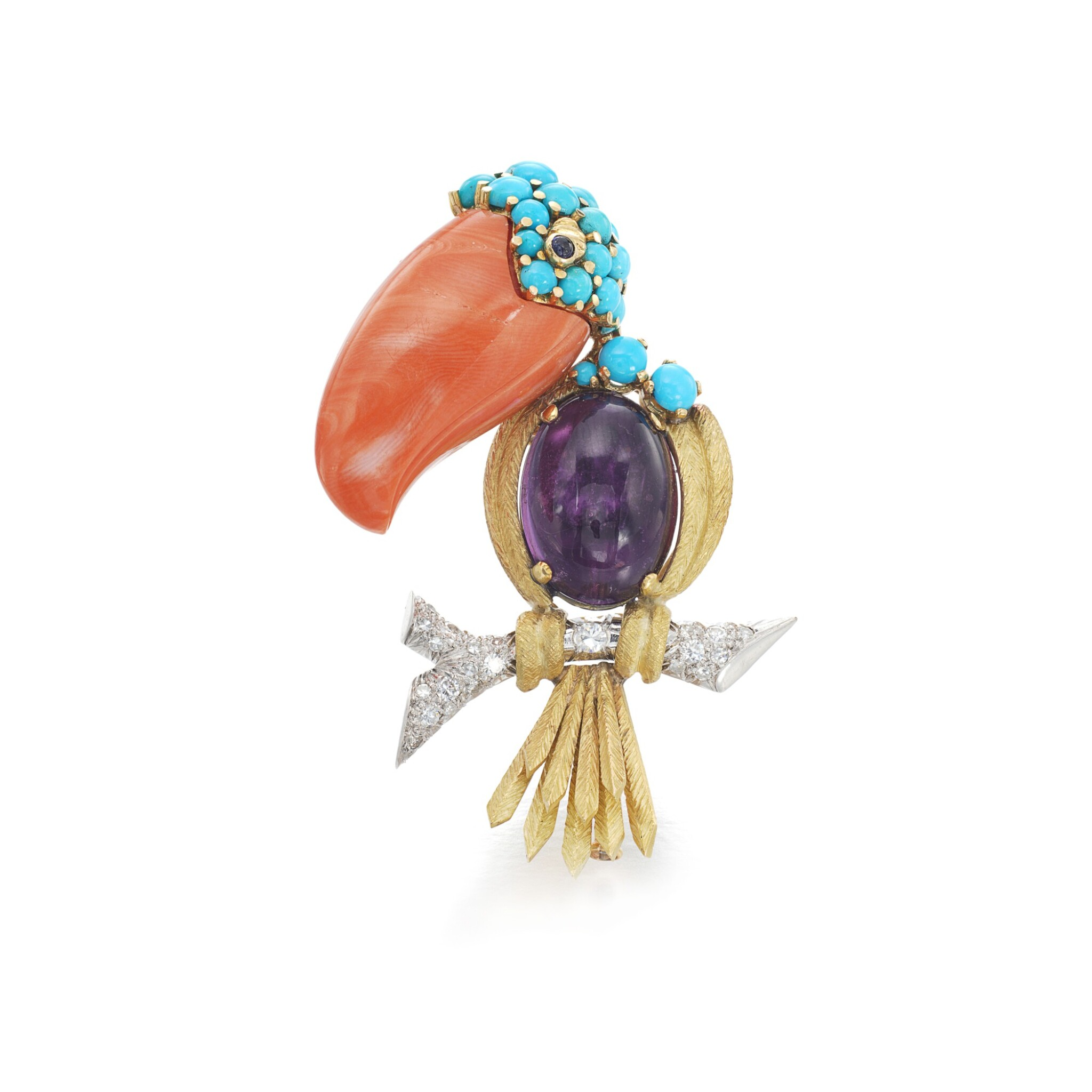 View full screen - View 1 of Lot 5. Gem set and diamond brooch.