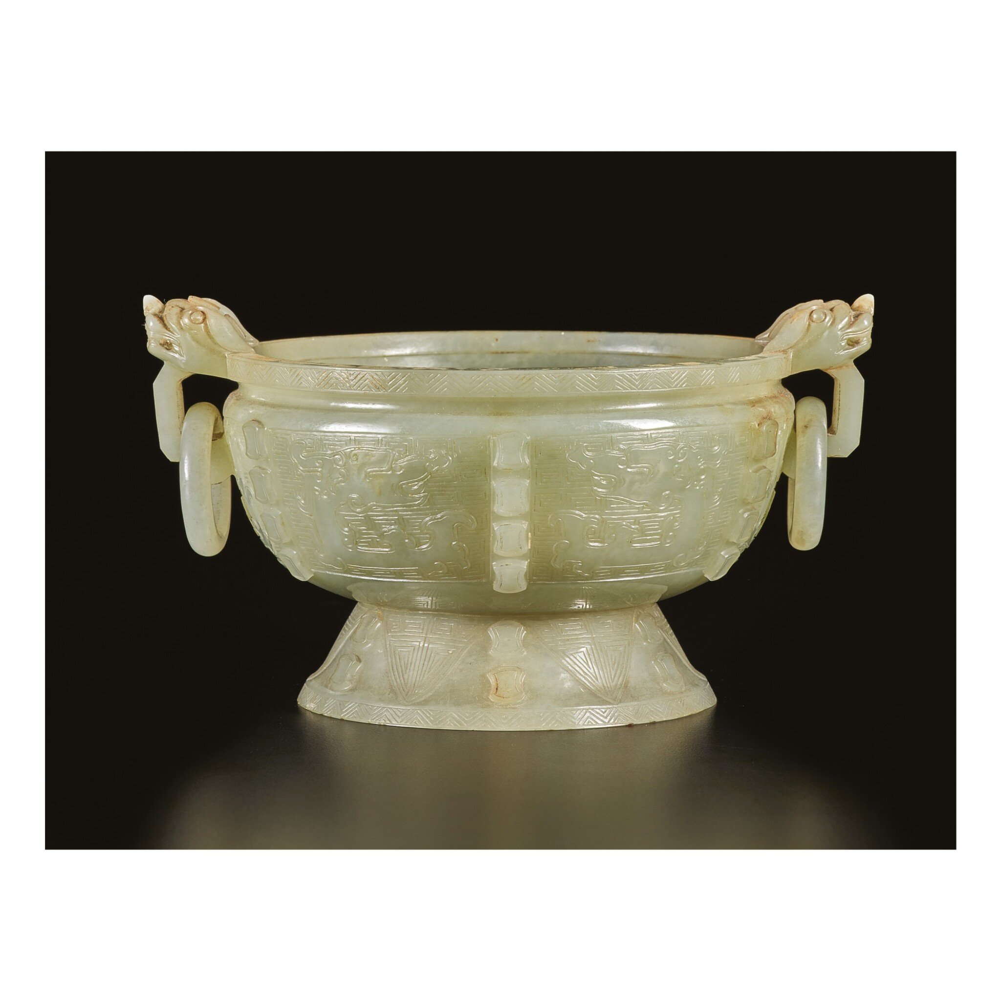View full screen - View 1 of Lot 651. AN ARCHAISTIC PALE CELADON JADE CENSER, QING DYNASTY, 18TH CENTURY.