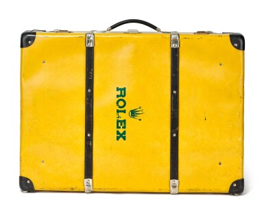 ROLEX | A YELLOW PAINTED AND WOODEN TRUNK, CIRCA 1960