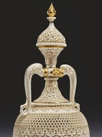 A ROYAL WORCESTER RETICULATED PORCELAIN TWO-HANDLED BOTTLE VASE AND COVER BY GEORGE OWEN 1918