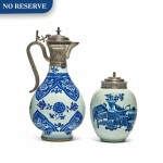 A CHINESE BLUE AND WHITE PORCELAIN EWER AND TEA CADDY WITH EUROPEAN SILVER MOUNTS, THE PORCELAIN EARLY 18TH CENTURY