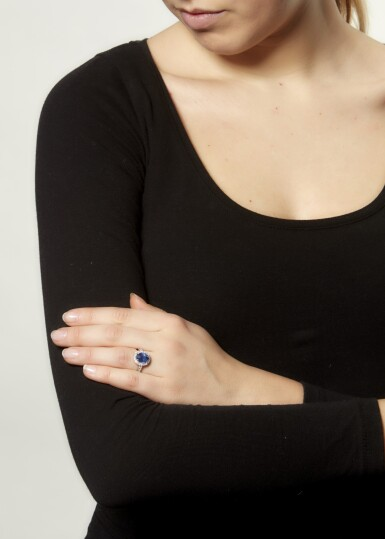 View 4. Thumbnail of Lot 44. SAPPHIRE AND DIAMOND RING.