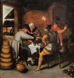 MARTEN VAN CLEVE THE ELDER | PEASANTS FEEDING SPANISH SOLDIERS DURING THE SIEGE OF ANTWERP