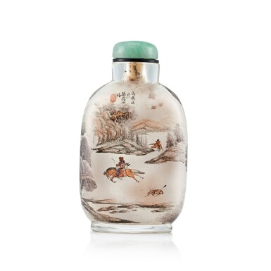 View 2. Thumbnail of Lot 3056. An Inside-Painted Glass 'Equestrians in a Landscape' Snuff Bottle By Zhang Baotian, Dated Wuxu Year, Corresponding to 1898 | 戊戌(1898年) 張葆田作玻璃內畫狩獵圖鼻煙壺 《戊戌秋月張葆田作》款.
