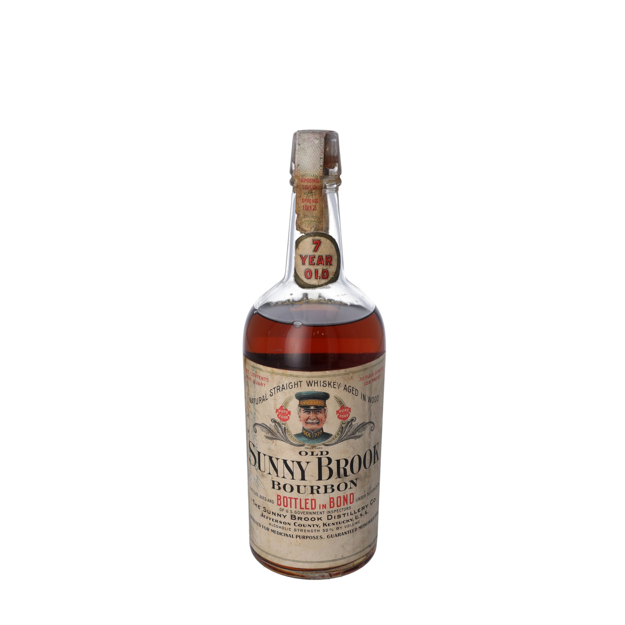 View full screen - View 1 of Lot 217. Old Sunny Brook 7 Year Old 100 proof 1912 (1 QUART).