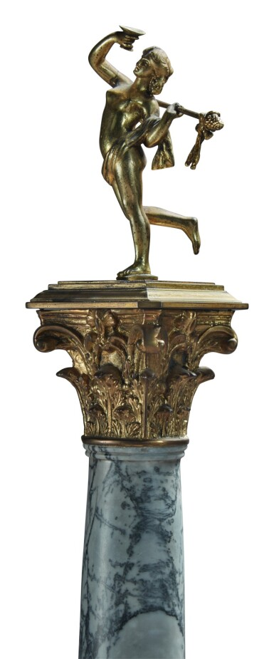 View 3. Thumbnail of Lot 139.  A PAIR OF NEOCLASSICAL GILT BRONZE AND GILT METAL-MOUNTED BARDIGLIO, PINK MARBLE AND BLACK SLATE CORINTHIAN COLUMNS TOPPED BY A PAIR OF GILT BRONZE MAENADS HOLDING THYRSI, 19TH CENTURY.
