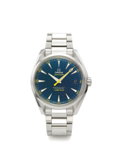 OMEGA | SEAMASTER AQUA TERRA 150M JAMES BOND,  A LIMITED EDITION STAINLESS STEEL AUTOMATIC CENTER SECONDS WRISTWATCH WITH DATE AND BRACELET CIRCA 2015