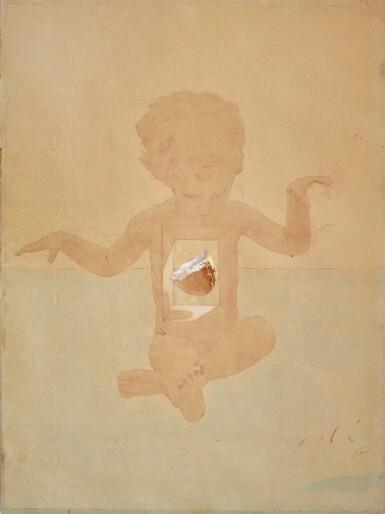 """View 1. Thumbnail of Lot 7. SALVADOR DALÍ   ÉTUDE POUR LE CROÛTON DE PAIN CENTRAL DE LA SECONDE VERSION DE """"LA MADONE DE PORT-LLIGAT"""" (1950)."""