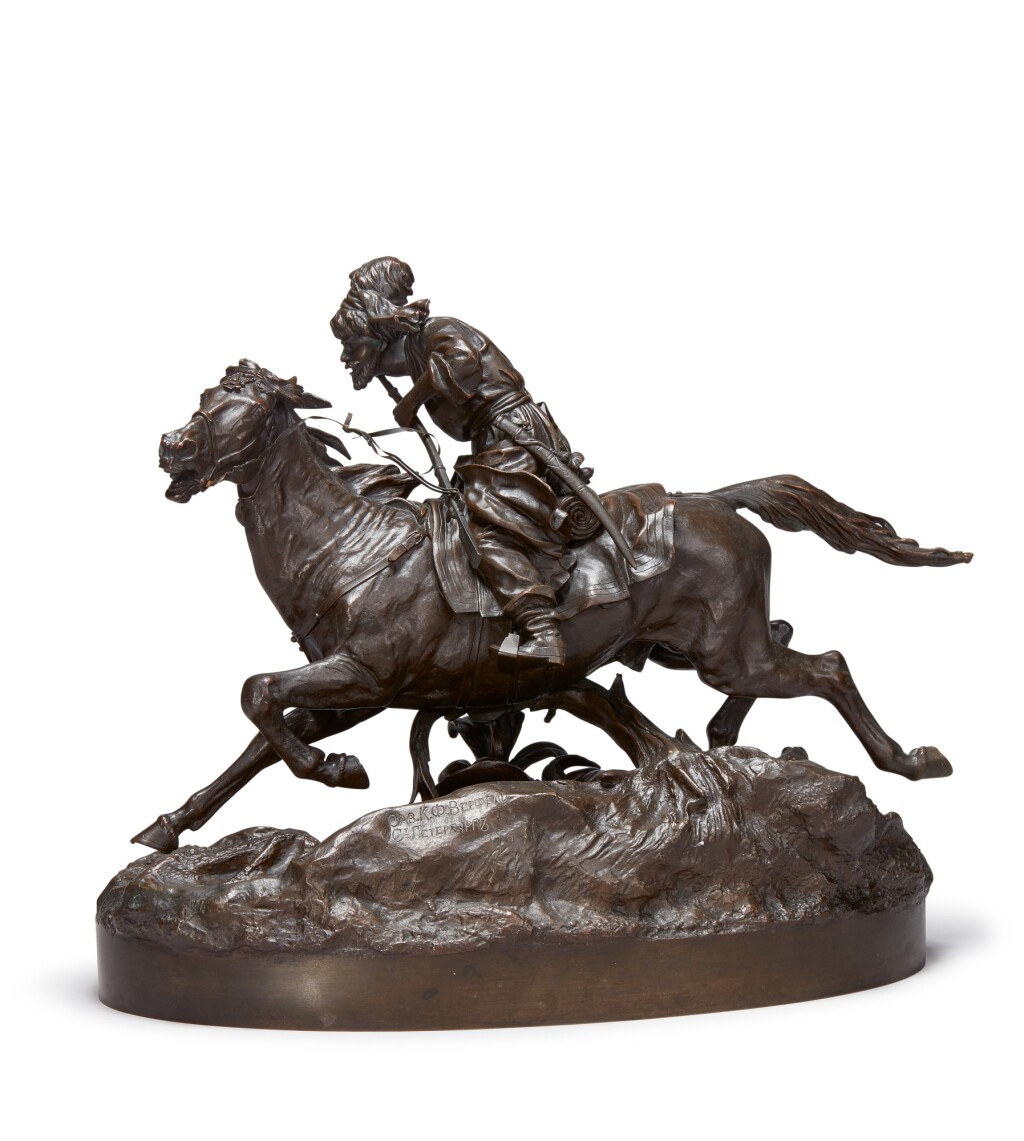 GALLOPING TATAR: A BRONZE FIGURAL GROUP, AFTER THE MODEL BY VASILII GRACHEV (1831-1905), 19TH/EARLY 20TH CENTURY