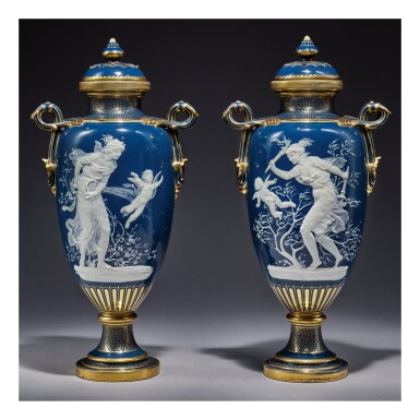 A PAIR OF MINTONS PÂTE-SUR-PÂTE PEACOCK-BLUE-GROUND VASES AND COVERS 1892