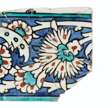 View 13. Thumbnail of Lot 130. A Group of Four Ottoman Iznik and Damascus Pottery Tiles, Turkey and Syria, 16th and 17th Centuries.