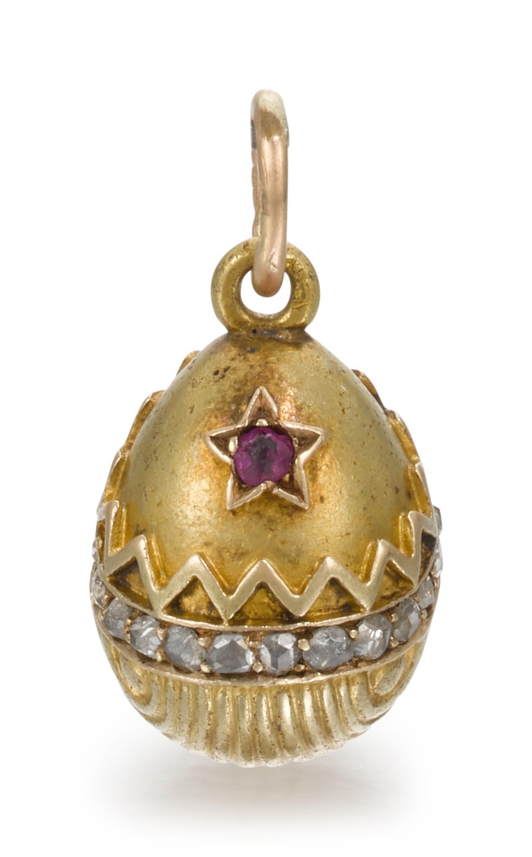 View full screen - View 1 of Lot 62. A Fabergé jewelled gold egg pendant, workmaster Erik Kollin, St Petersburg, circa 1900.