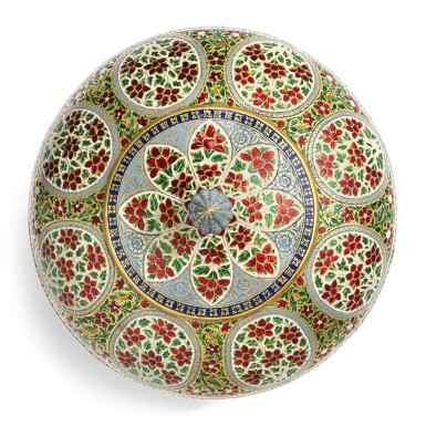 View 3. Thumbnail of Lot 62. A fine enamelled gold bowl and cover, India, Rajasthan, Jaipur, 19th century.