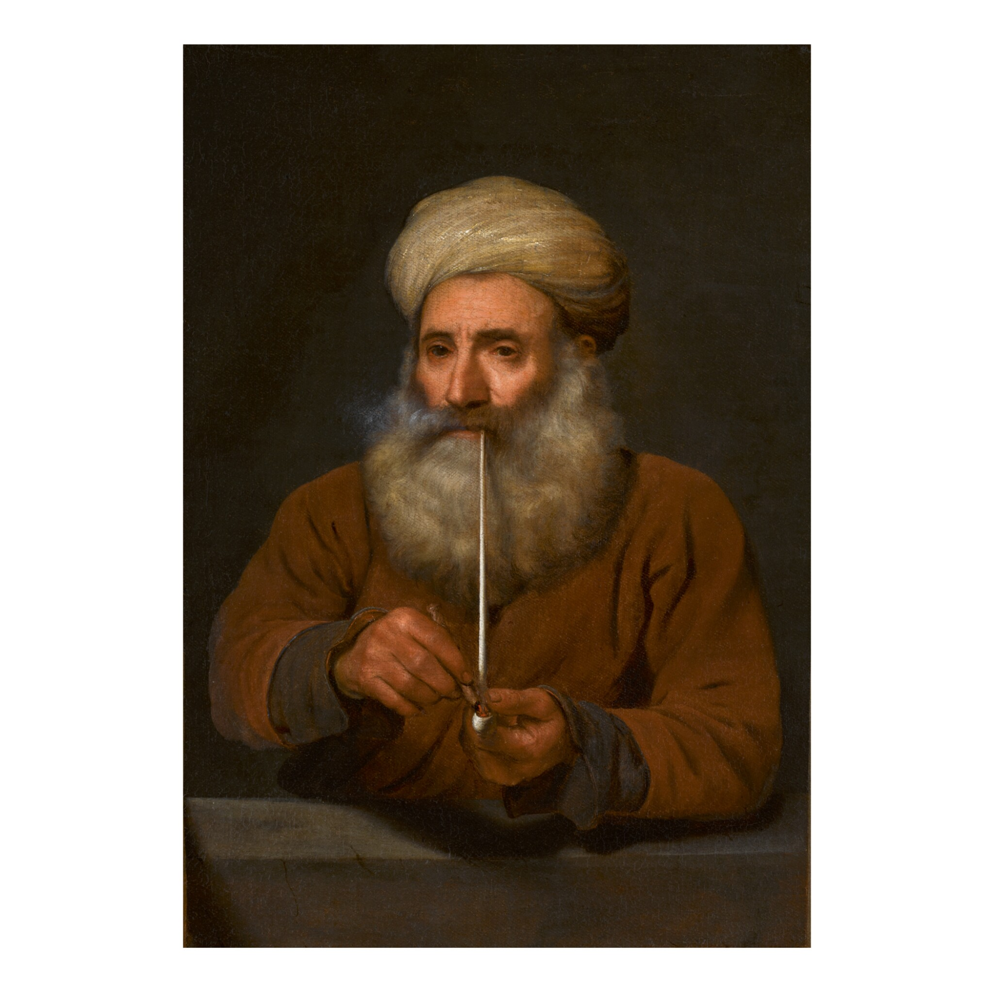 View full screen - View 1 of Lot 24. ATTRIBUTED TO MICHAEL SWEERTS   OLD MAN SMOKING A PIPE, WEARING A TURBAN, HALF-LENGTH.