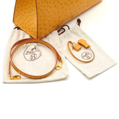 View 7. Thumbnail of Lot 315. Saffron Sellier Kelly 35 in Ostrich Leather with Gold Hardware, 1996.
