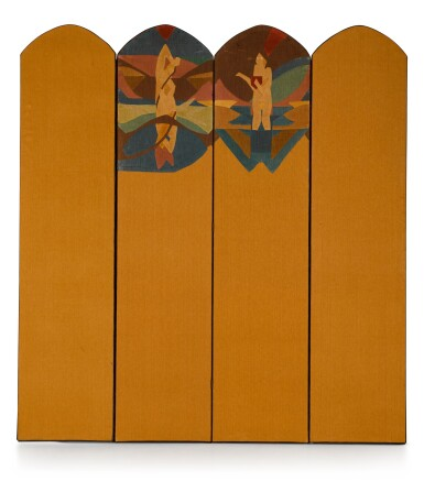 View 2. Thumbnail of Lot 153. A FOUR-FOLD SCREEN WITH EMBROIDERED APPLIQUE DESIGNS FOR SUMMER AND AUTUMN, DESIGNED BY CLAUDE FLIGHT AND MADE BY EDITH LAWRENCE, CIRCA 1927-1930.