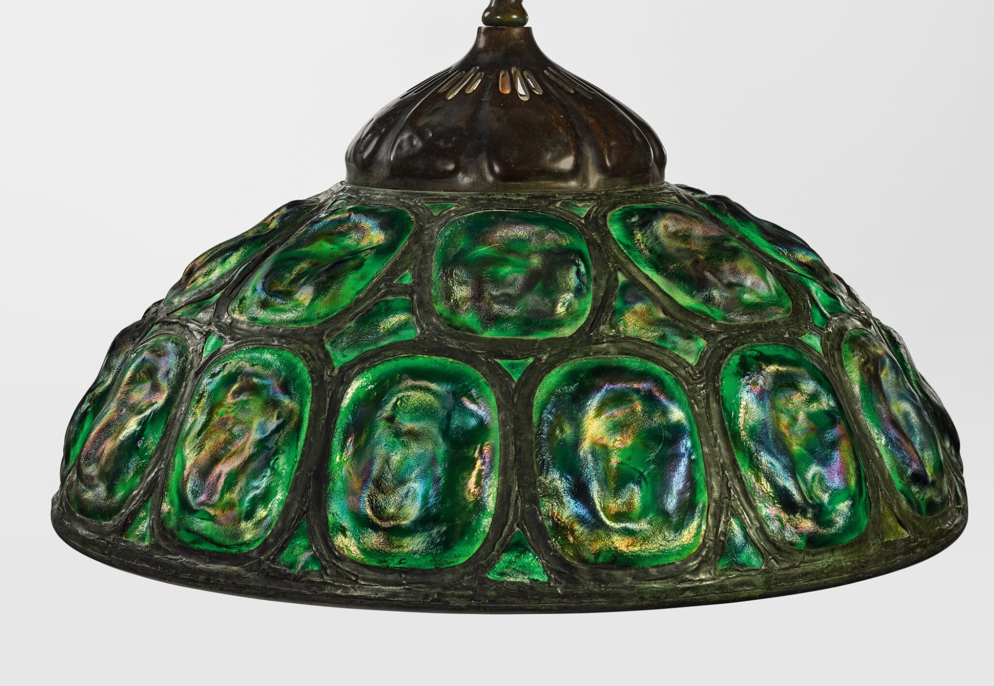 """View full screen - View 1 of Lot 422. TIFFANY STUDIOS   """"TURTLE-BACK"""" CHANDELIER."""