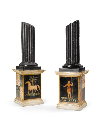 A PAIR OF MALTESE INLAID MARBLE COLUMNS, MID-19TH CENTURY, ATTRIBUTED TO J. DARMANIN & SONS