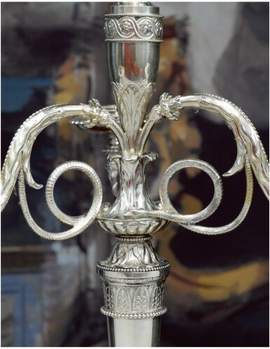 View 3. Thumbnail of Lot 36. A PAIR OF GEORGE III SILVER FOUR-LIGHT CANDELABRA AFTER A DESIGN BY JEAN-GUILLAUME MOITTE, BRITANNIA STANDARD, PAUL STORR, LONDON, 1797-98.