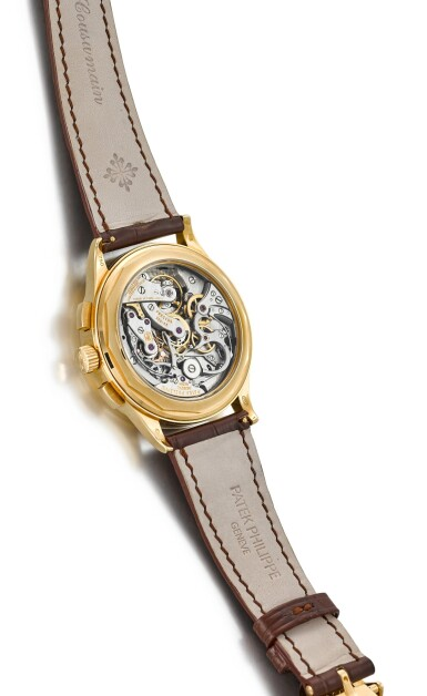 View 3. Thumbnail of Lot 33. PATEK PHILIPPE | REFERENCE 5170, A YELLOW GOLD CHRONOGRAPH WRISTWATCH WITH PULSATION SCALE, CIRCA 2011.