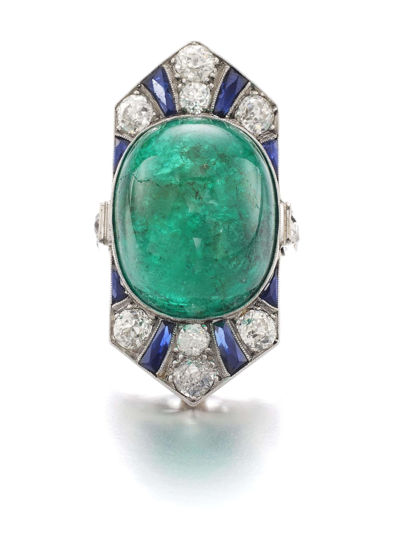 View full screen - View 1 of Lot 609. Henri Picq | Emerald and gem set and diamond ring, circa 1930 | Henri Picq | 祖母綠配寶石及鑽石戒指,年份約1930.