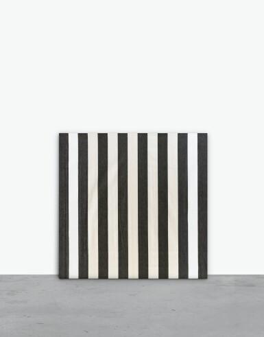View 1. Thumbnail of Lot 130. Peinture acrylique blanche sur tissu rayé blanc et noir.