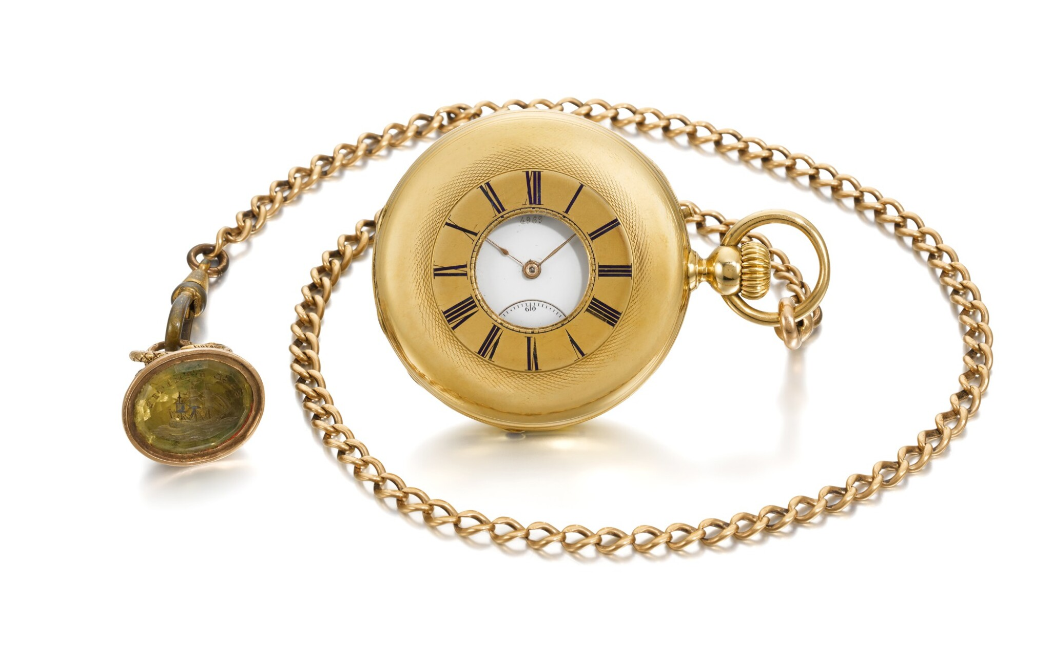 View full screen - View 1 of Lot 201. YELLOW GOLD HALF HUNTING CASED KEYLESS WATCH NO. 4969, MADE IN 1866.