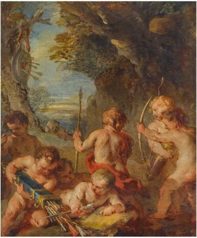 View 1. Thumbnail of Lot 27. FRANÇOIS LEMOYNE | PUTTI PLAYING IN A LANDSCAPE .