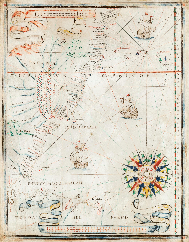 View full screen - View 1 of Lot 98. PORTULAN -- Joan MARTINES [?]. Carte portulan de la côte atlantique de l'Amérique du Sud. Messine, ca 1570-1591..