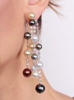 Pair of cultured pearl and diamond pendentearrings, Michele della Valle