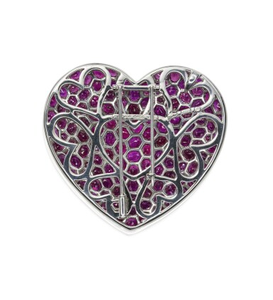 View 4. Thumbnail of Lot 19. Ruby brooch/pendant combination, 'Cuore', Michele della Valle.