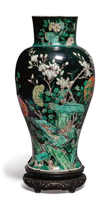 View 3. Thumbnail of Lot 1039.  A FAMILLE-NOIRE 'BIRD AND FLOWER' BALUSTER JAR,  QING DYNASTY, 19TH CENTURY.